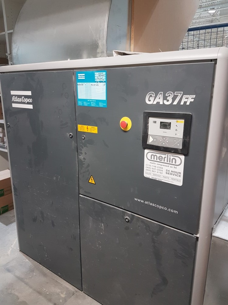 Atlas Copco GA37 FF 50 hp air compressor, 2005